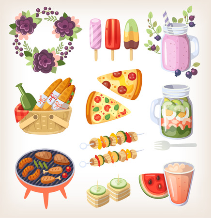 Colorful elements and food for recreation at hot summer day Illustration