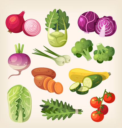 cartoon food: Common and exotic grocery, garden and field vegetables. Icons for labels and packages or for kids education.