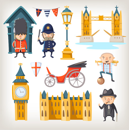 famous people: Famous sights, retro elements of city architecture, lifestyle and people of new and old London