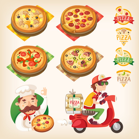 Pizza related pictures: kinds of pizza on the board Ilustrace
