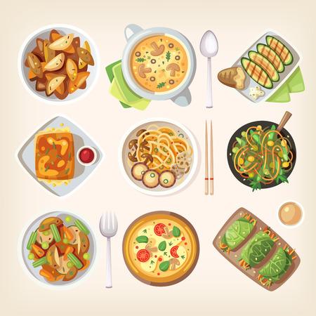 comida: Conjunto de coloridos sabrosos platos sin carne saludables, cocinados comida de la cocina vegetariana