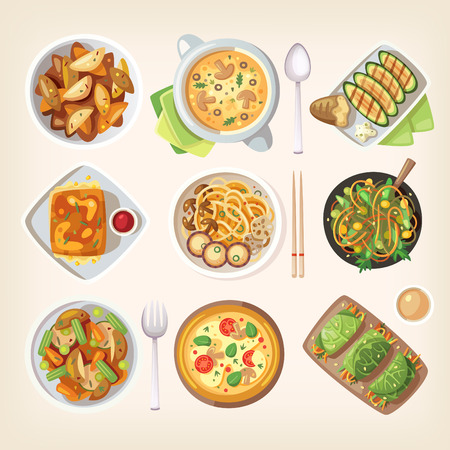 tables: Set of colorful tasty healthy meatless dishes, cooked food from vegetarian cuisine Illustration