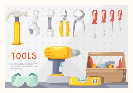 carpintero: Cartel colorido con herramientas de carpintero en la pared del garaje Vectores