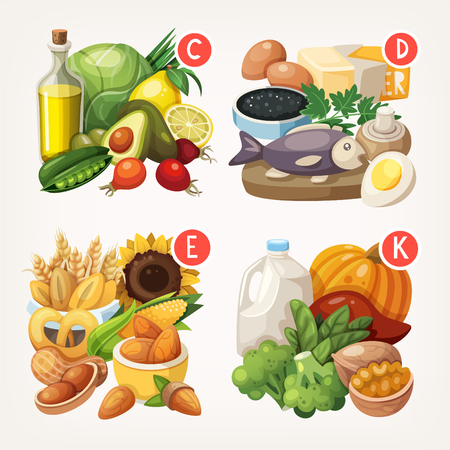 biology: Groups of healthy fruit, vegetables, meat, fish and dairy products containing specific vitamins