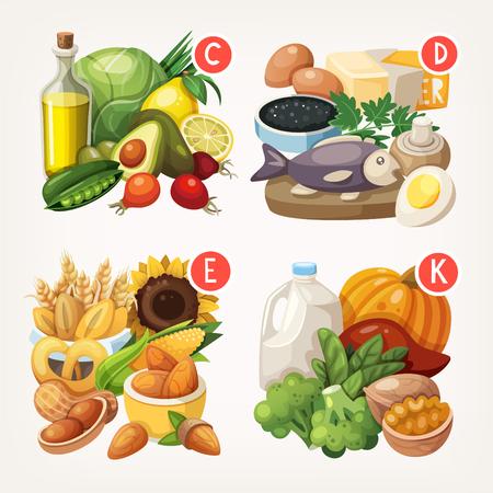 cibo: Gruppi di frutta sano, verdura, carne, pesce e latticini contenenti vitamine specifiche Vettoriali