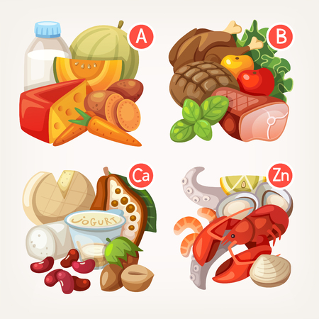 vitamins: Groups of healthy fruit, vegetables, meat, fish and dairy products containing specific vitamins