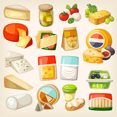 botanas: Cuadros aislados de la mayoría de los tipos populares de queso en los envases. Rebanadas y trozos de queso y algunos productos para usarlos con.
