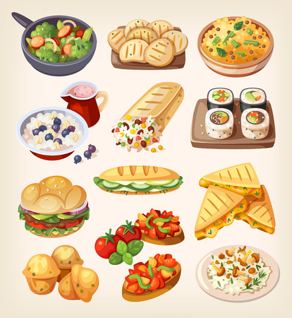 Comida de la calle vegetariano y platos restaurante. Ilustración de vector