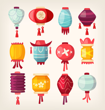 Set of colorful chinese paper street lanterns hanging in garland in the street Vectores