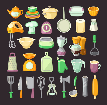 Set of colorful kitchen utensils used for cooking breakfats or dinner.