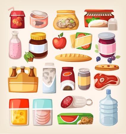 cibi: Set di beni comuni e dei prodotti di uso quotidiano che otteniamo da shopping in un supermercato. Vettoriali