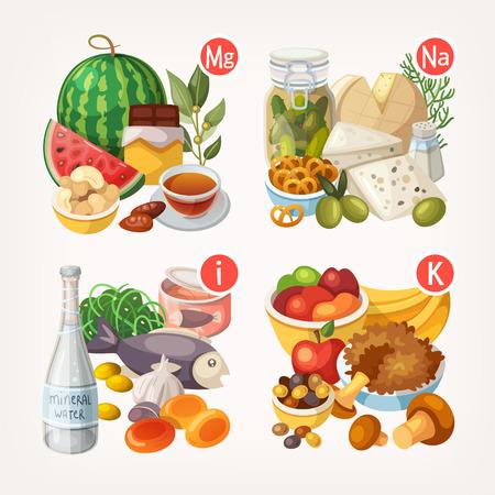 legumes: Groupes de fruits sains, les l�gumes, la viande, le poisson et les produits laitiers contenant des vitamines sp�cifiques Illustration