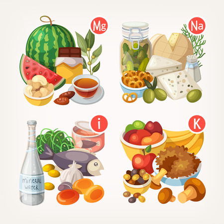 vitamina a: Grupos de fruta sana, verduras, carne, pescado y productos lácteos que contienen vitaminas específicas