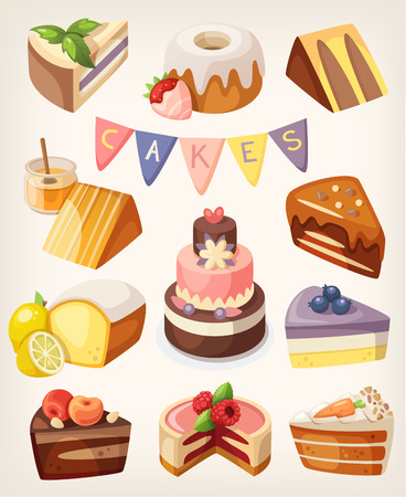 Set of coloful tasty pieces of cakes, slices of pies, and other bakery desserts Vectores