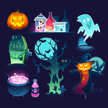 Set of colorful halloween illustrations with ghost, terrific screcrow, crooked tree on a cemetery and jars and potions from witch's hut.