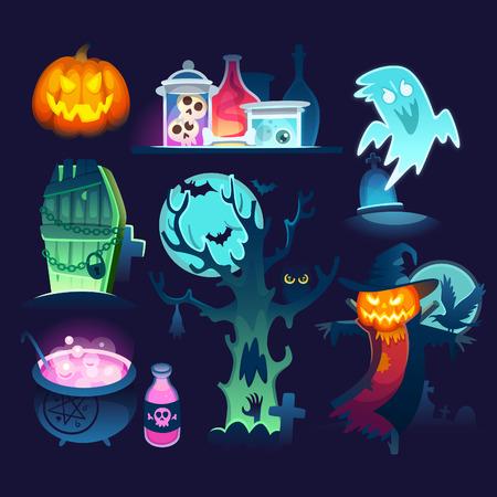 Conjunto de ilustraciones coloridas de Halloween con fantasmas, excelente screcrow, árbol torcido en un cementerio y tarros y pociones de la cabaña de la bruja.