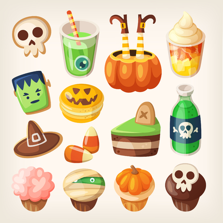 souffle: Set of colorful halloween party snacks and treats for children. Isolated sweets, cakes, muffins and cookies. Illustration
