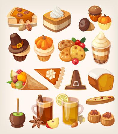 zanahoria caricatura: Conjunto de coloridas sabrosas de Acción de Gracias día postres, dulces, caramelos y golosinas.