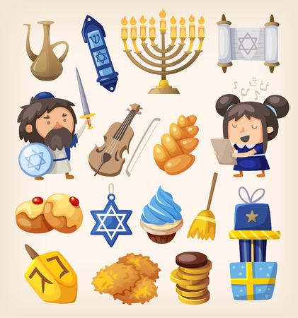gente cantando: Conjunto de elementos de colores para la celebración de Hanukkah Vectores