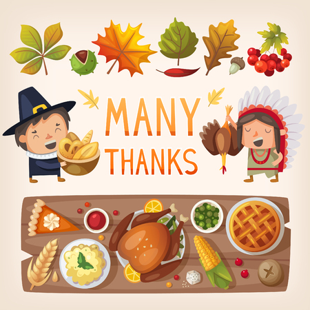 gobbler: Colorful thanksgiving day characters, leaves and feats table. Illustration