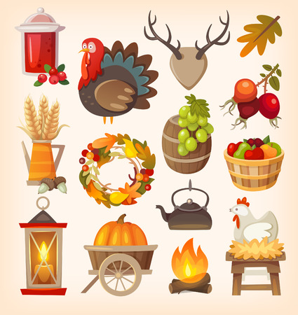 bushel: Set of colorful vector graphic elements for thanksgiving day. Isolated illustrations