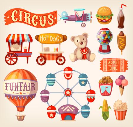 Una colección de divertidos iconos y elementos de circo justas y viajan.