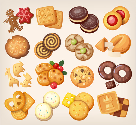 illustration food: Set of all kinds of delicious chocolate and vanilla cookies.