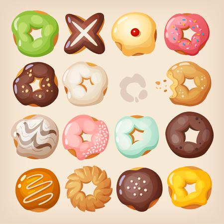 Set of colorful delicious doughnuts of different kinds in a box Illustration
