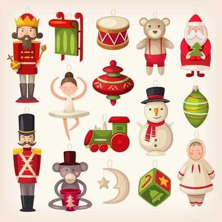 Reeks kleurrijke retro houten speelgoed van de kerstboom. Stock Illustratie