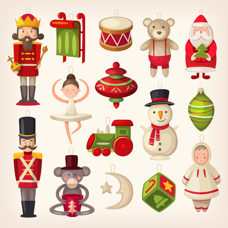 sledge: Set of colorful retro wooden christmas tree toys. Illustration