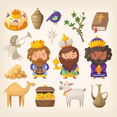 corona navidad: Tres reyes y elementos coloridos para el d�a de la Epifan�a