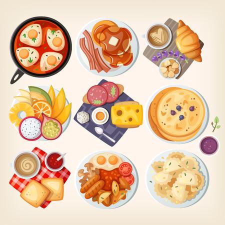 platos de desayuno tradicionales de diferentes países: Israel, Estados Unidos, Francia, Hawaii (EE.UU.), Dinamarca, Suecia, Italia, Gran Bretaña, Polonia. Ilustraciones vectoriales.