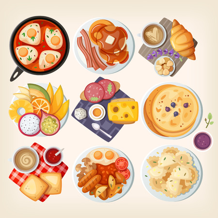 hot cakes: platos de desayuno tradicionales de diferentes países: Israel, Estados Unidos, Francia, Hawaii (EE.UU.), Dinamarca, Suecia, Italia, Gran Bretaña, Polonia. Ilustraciones vectoriales. Vectores