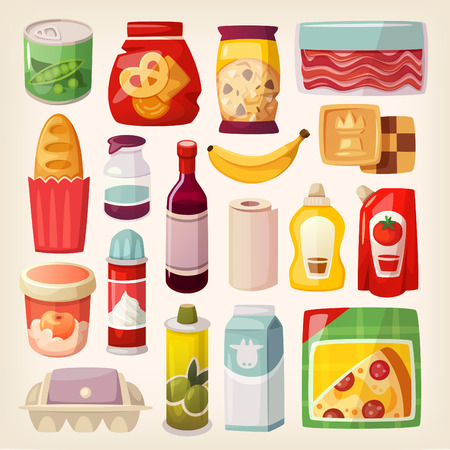 bread and wine: Set of common goods and everyday products we get by shopping in a supermarket. Illustration