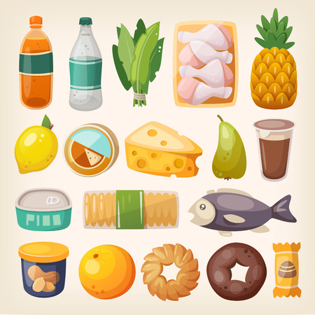 Set di beni comuni e dei prodotti di uso quotidiano che otteniamo da shopping in un supermercato.