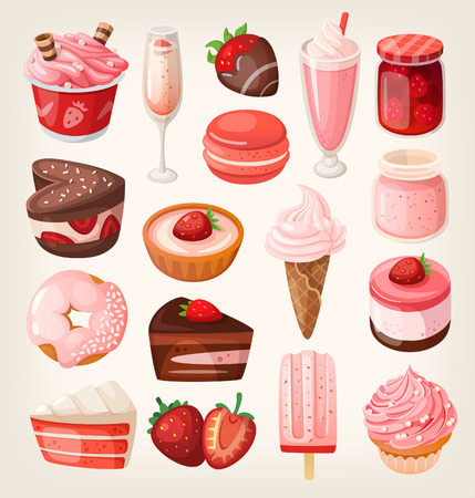 food illustrations: Set of delicious sweets and desserts with strawberry flavor for valentine day
