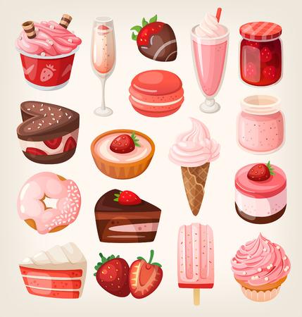 bonbons: Set von leckeren Süßigkeiten und Desserts mit Erdbeergeschmack für Valentinstag