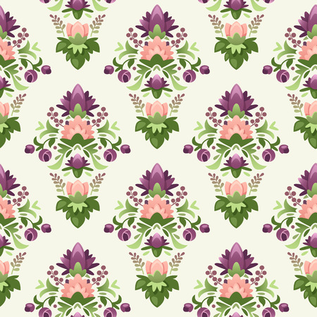 wrapping paper pattern: Colorful seamless wrapping paper pattern with violet flowers.