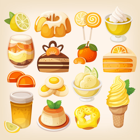 Set of delicious sweets and desserts with citrus flavors