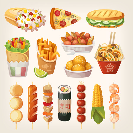 Set of colorful takeaway food that is sold at every cornor