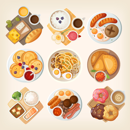 Traditional breakfast dishes from different countries and places: Israel, Iceland, Germany, Russia, Korea, Venezuella, Japan, Ireland, USA. Illustration