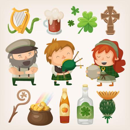 gaita: Conjunto de elementos irlandeses de colores y caracteres Vectores