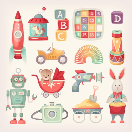 Kolorowe retro zabawki od 60. w klasycznych kolorach. Ilustracje wektorowe