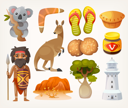 Set of animals, people, elements and items associated with australia Çizim