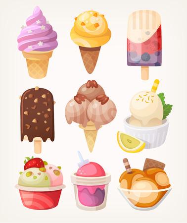 Set van kleurrijke smakelijke geïsoleerde ijs. Vector Stockfoto - 59219001