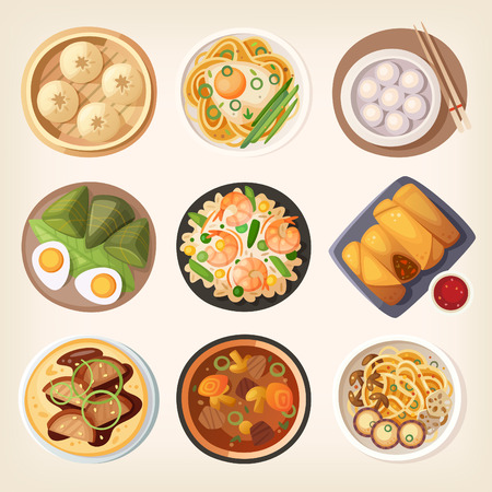 fried noodles: Chinese street, restaraunt or homemade food icons for ethnic menu