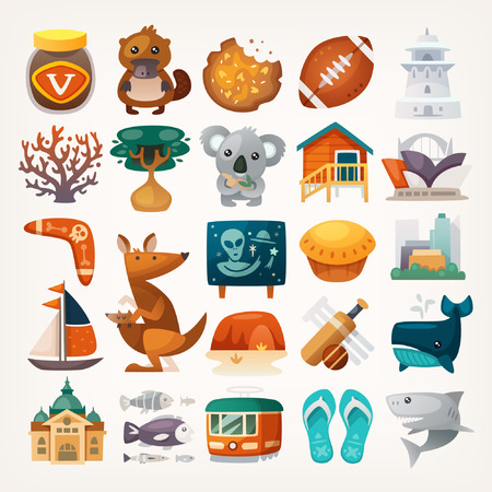 gum tree: Set of Australian travel icons. Symbols of the continent. Various sights and famous elements from all parts of the island. Isolated vector illustrations. Illustration