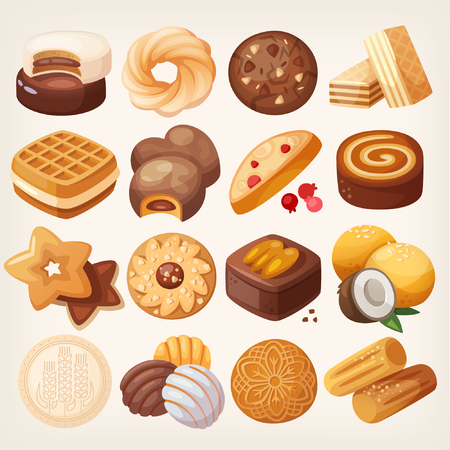 Cookies and biscuits icons set. Various pastry snack food. Isolated realistic vector illustrations. Çizim