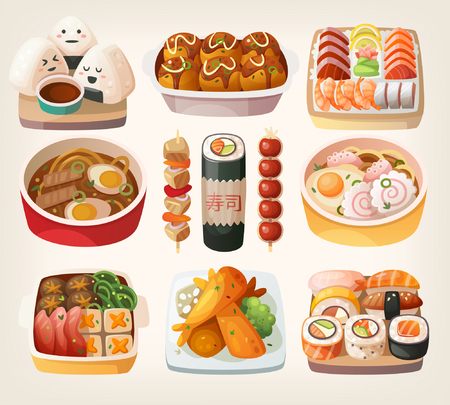 Set of realistic illustrations of japanese cuisine dishes nicely served on traditional plates. Isolated vector illustrations. Çizim