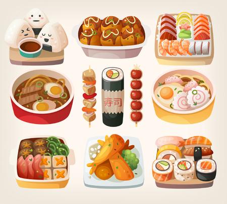 Set van realistische illustraties van Japanse gerechten gerechten keurig op traditionele borden geserveerd. Geïsoleerde vector illustraties.